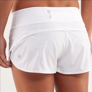 white lululemon speed shorts